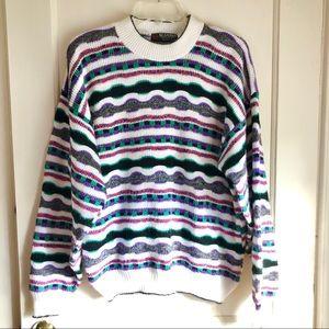 Retro Multicolor Crew Neck Sweater